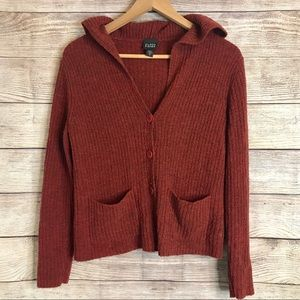 Eileen Fisher Wool Sweater Hooded Red Cardigan XS